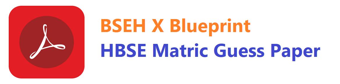 BSEH X Blueprint   HBSE Matric Guess Paper