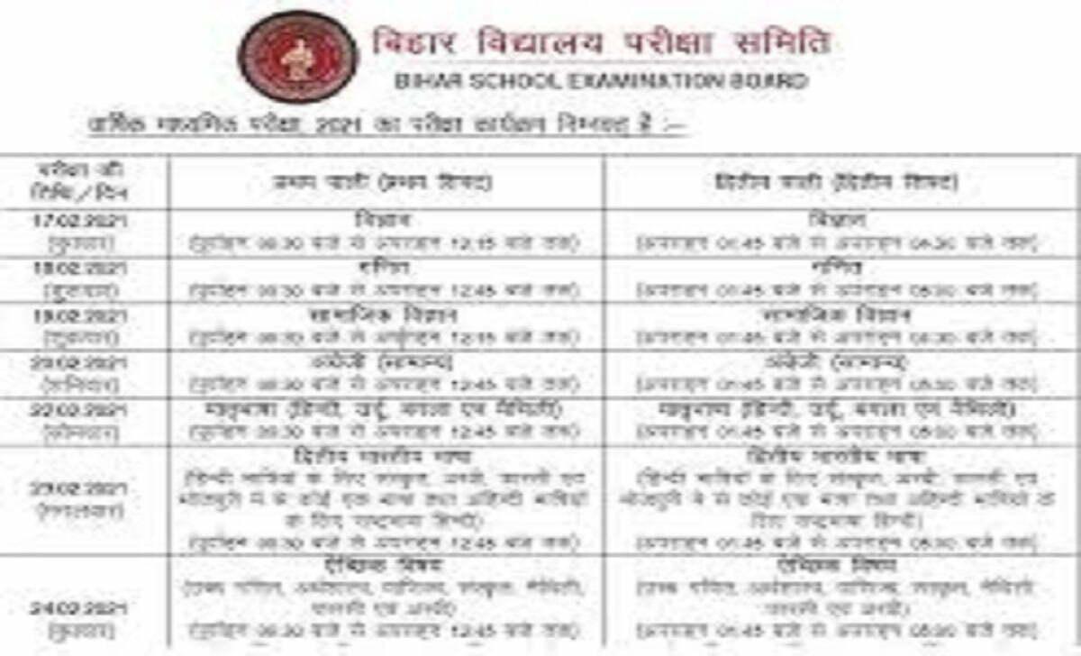 बीएसईबी 10 वीं रूटीन, बिहार बोर्ड 10 वीं समय सारणी BSEB 10th Routine, Bihar Board 10th Time Table 2021